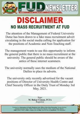 FUDutse disclaimer notice on mass recruitment