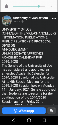 UNIJOS notice on resumption for continuation of 2019/2020 session