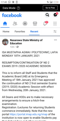 Isa Mustapha Agwai Poly notice on commencement of 1st semester exam, 2019/2020