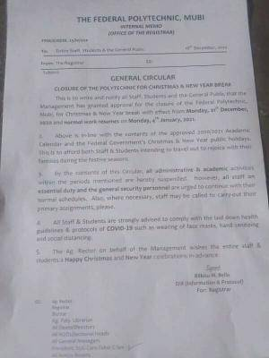 Federal polytechnic, Mubi notice on closure of the polytechnic for Christmas/New Year Break