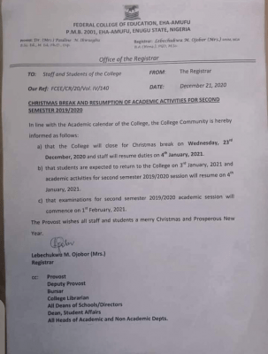 FCE Eha-Amufu Christmas break and resumption for 2nd semester 2019/2020