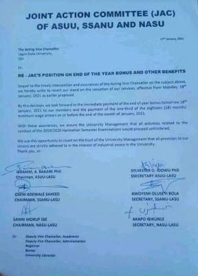 LASU SSANU and NASU suspend planned strike