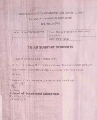 FCE Tech Gombe notice to summer students