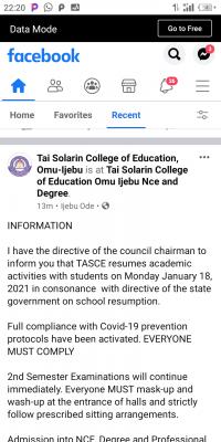 TASCE notice on resumption of academic activities