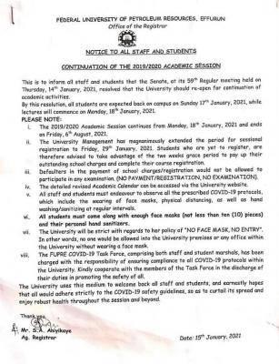 FUPRE notice on resumption of academic activities