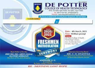 De Potter College of Health Tech. announces matriculation ceremony, 2020/2021