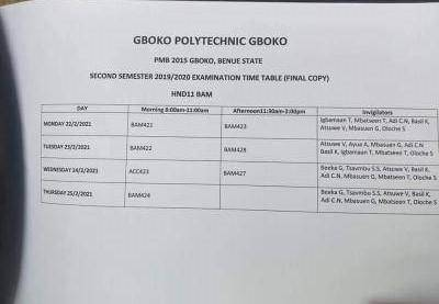 Gboko Polytechnic HND II BAM 2nd semester exam time table
