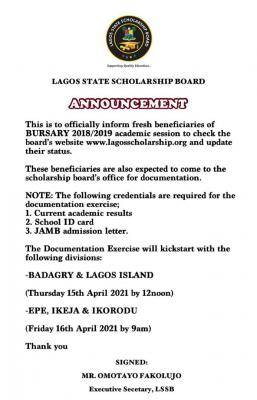 Lagos State Scholarship Board notice to fresh beneficiaries