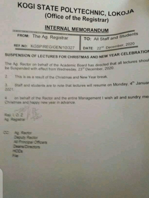 Kogi State Polytechnic notice on Christmas break