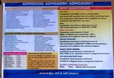 Enugu State College of Education Admission Form
