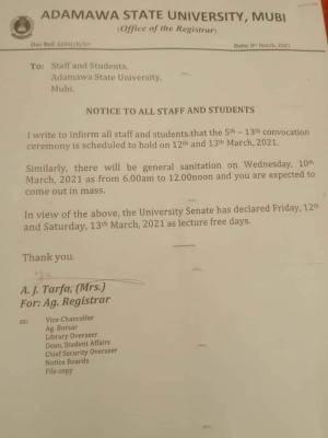 ADSU announces lecture free days
