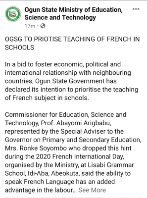 Ogun State Government to prioritise teaching of French in schools