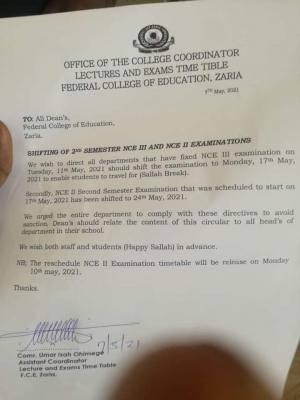 FCE, Zaria announces postponement of exam