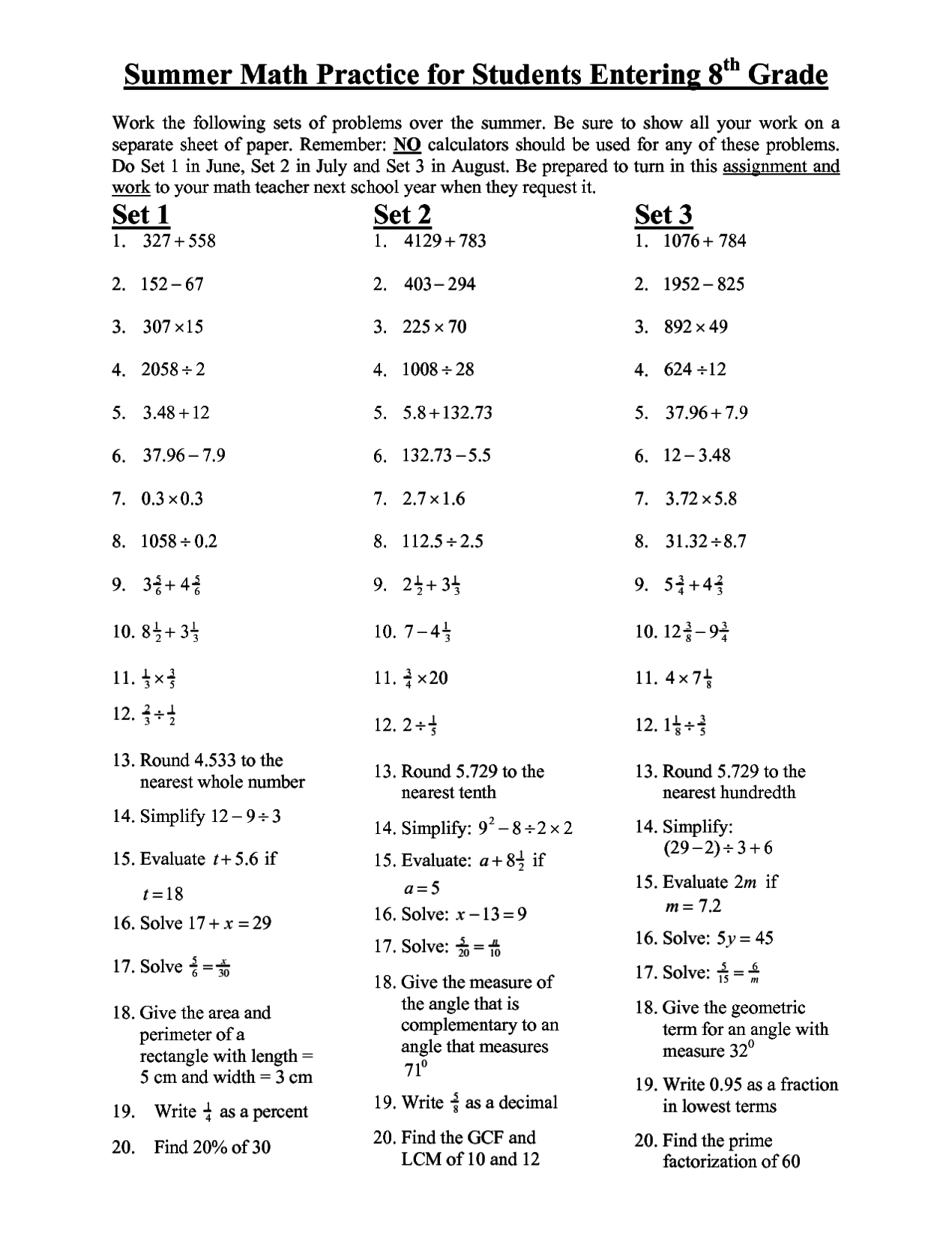8th Grade Math Practice Worksheets Tutore