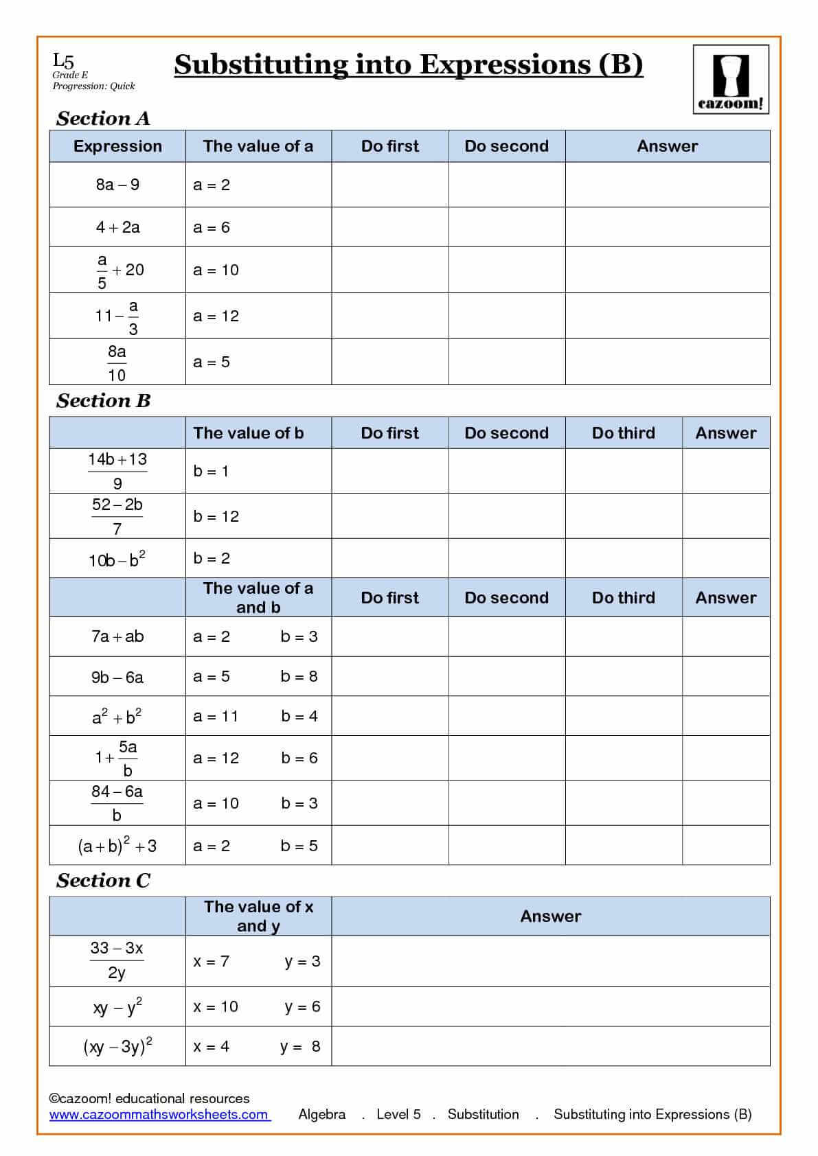 Algebra Substitution Into Expressions Worksheets