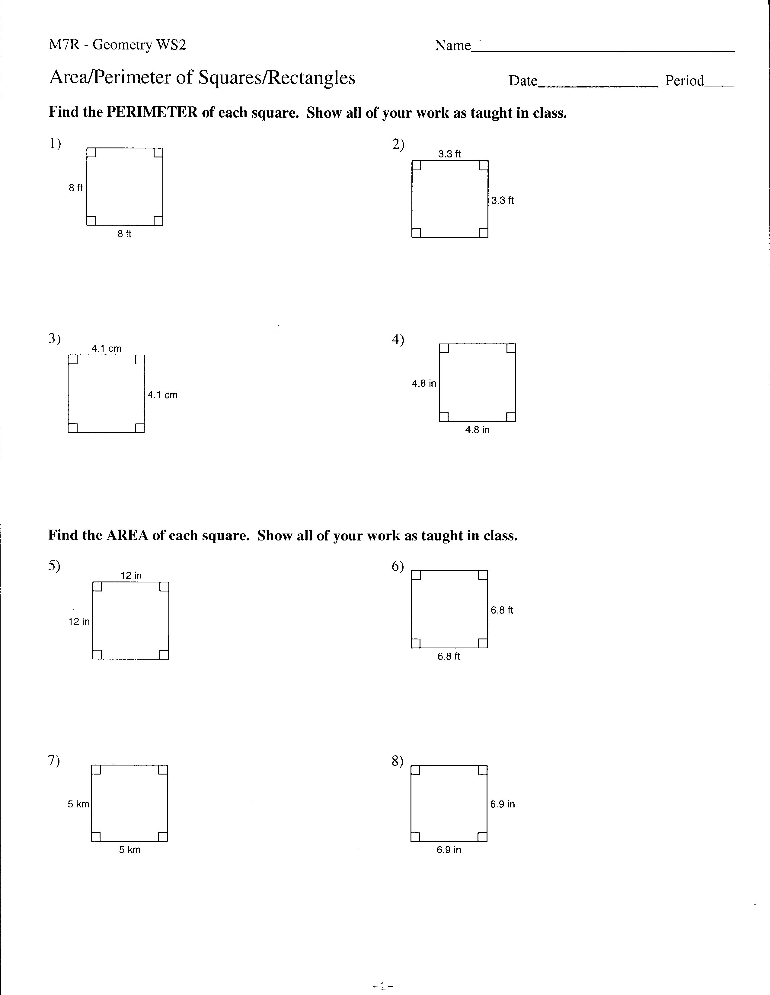 Area And Perimeter Of Squares And Rectangles Geometry