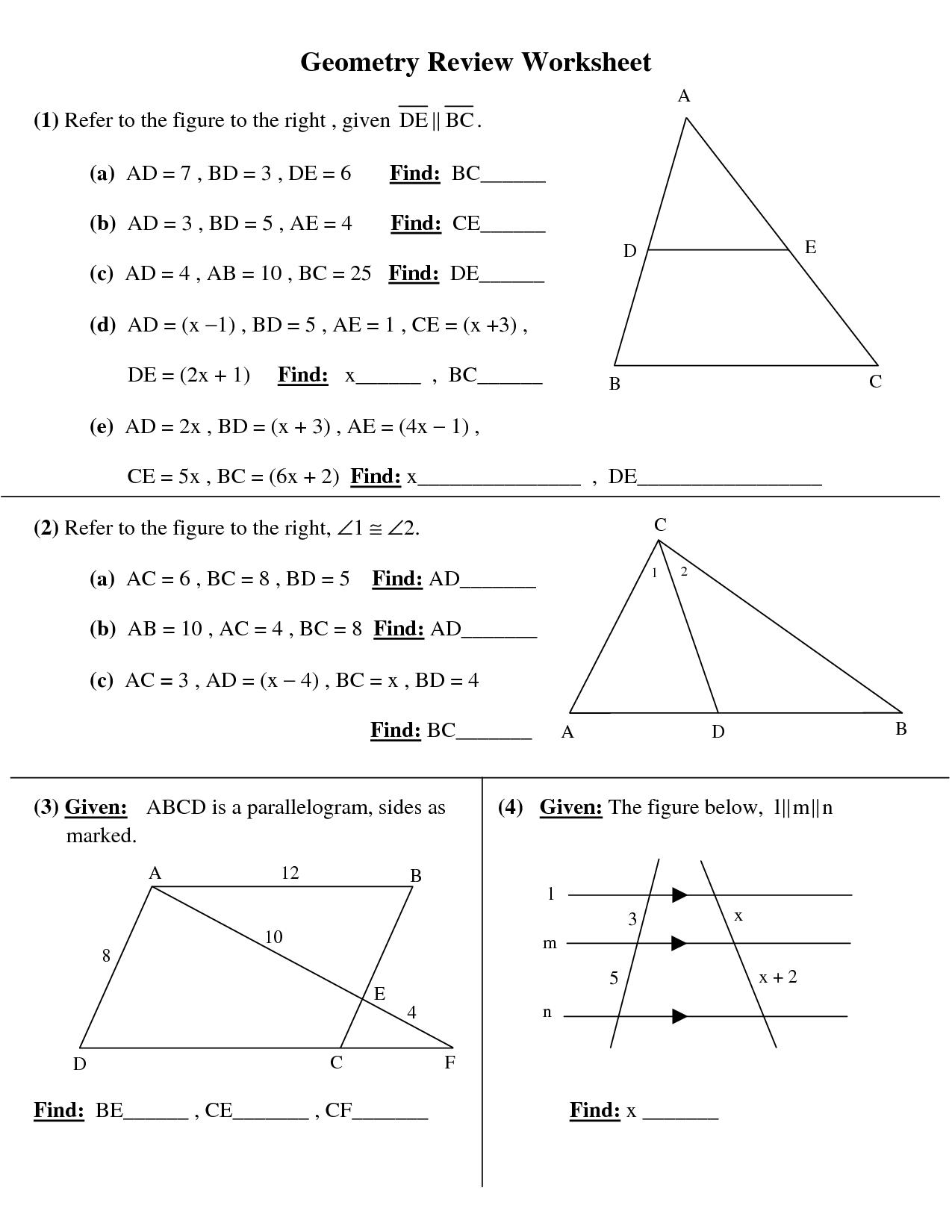 10th Grade Math Worksheet Angles