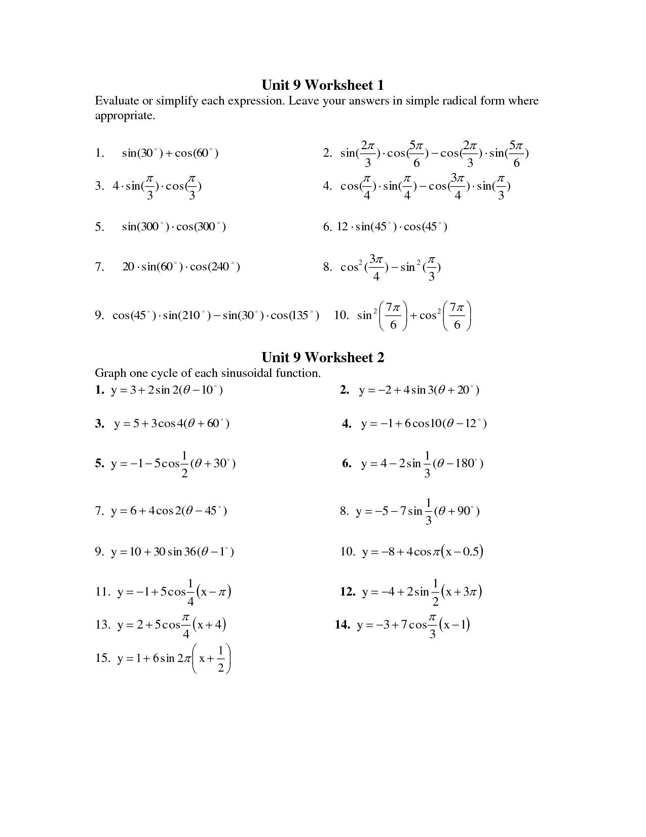 Precalculus Printable Worksheets