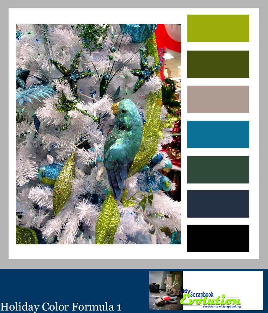 Holiday Color formula 1 byMyScrapbookEvolution, features a Christmas Color palette with teal, silver and green