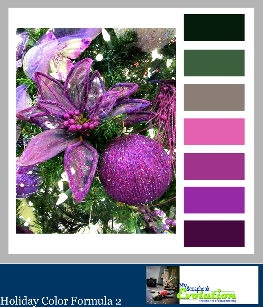 HolidayColor formula 2 by MyScrapbookEvolution is a nontraditional Christmas Color Palette featuring silver, purple and green. Click to see more color palettes.