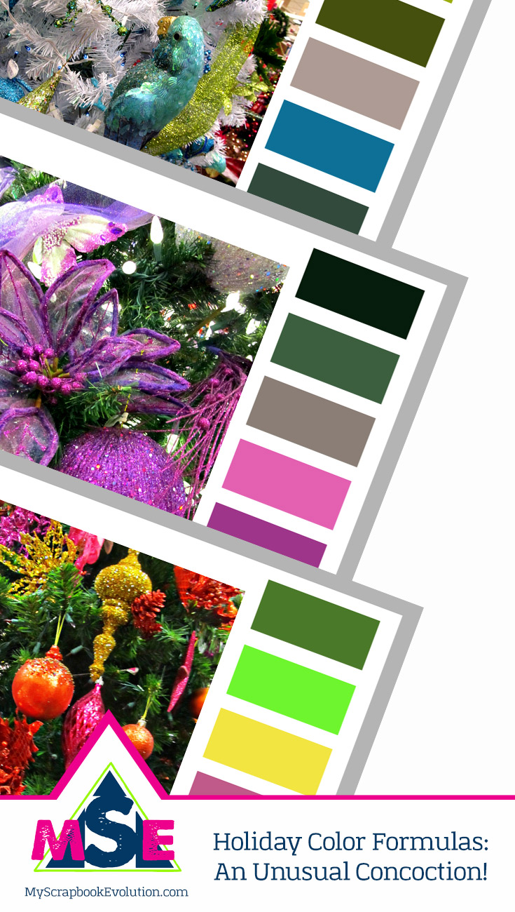 Holiday Color Formulas An Unusual Concoction shares 3 nontraditional color palettes for your Christmas crafts and papercraft projects