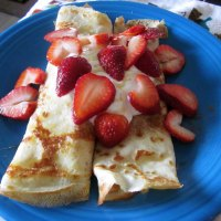 Apple Cinnamon Crepes with Greek Yogurt, Honey, and Strawberries