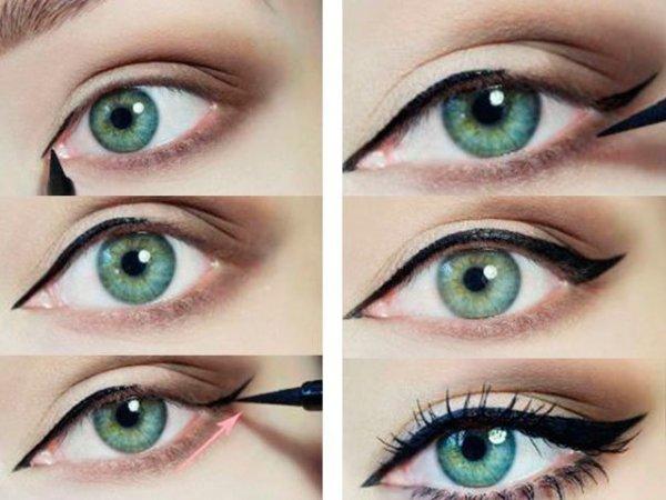 Как правильно рисовать стрелки на глазах фото пошагово для ...