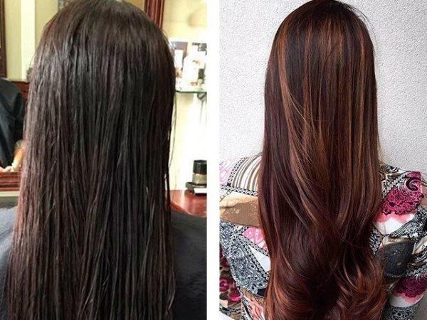Мелирование на темные волосы: до и после фото