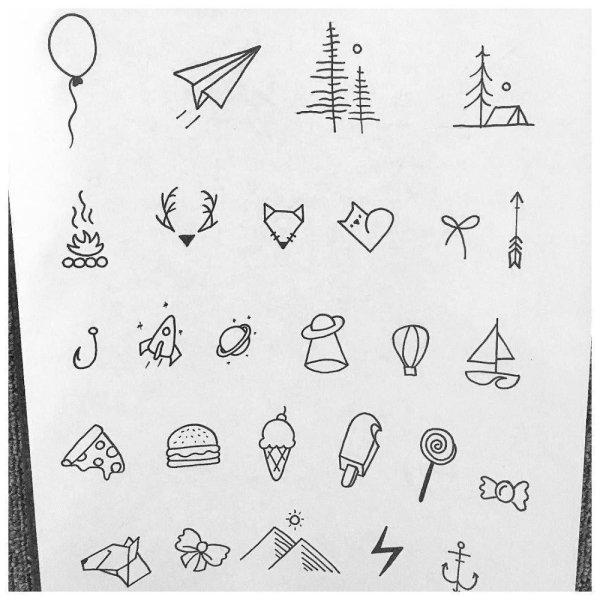 Татуировки ручкой 🖊: легкие картинки для срисовки