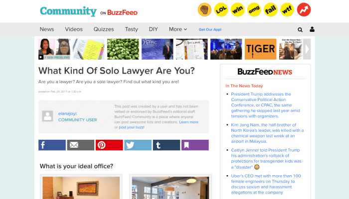 Buzz-Feed Quizzes: Low-Brow Legal Tech for the Masses