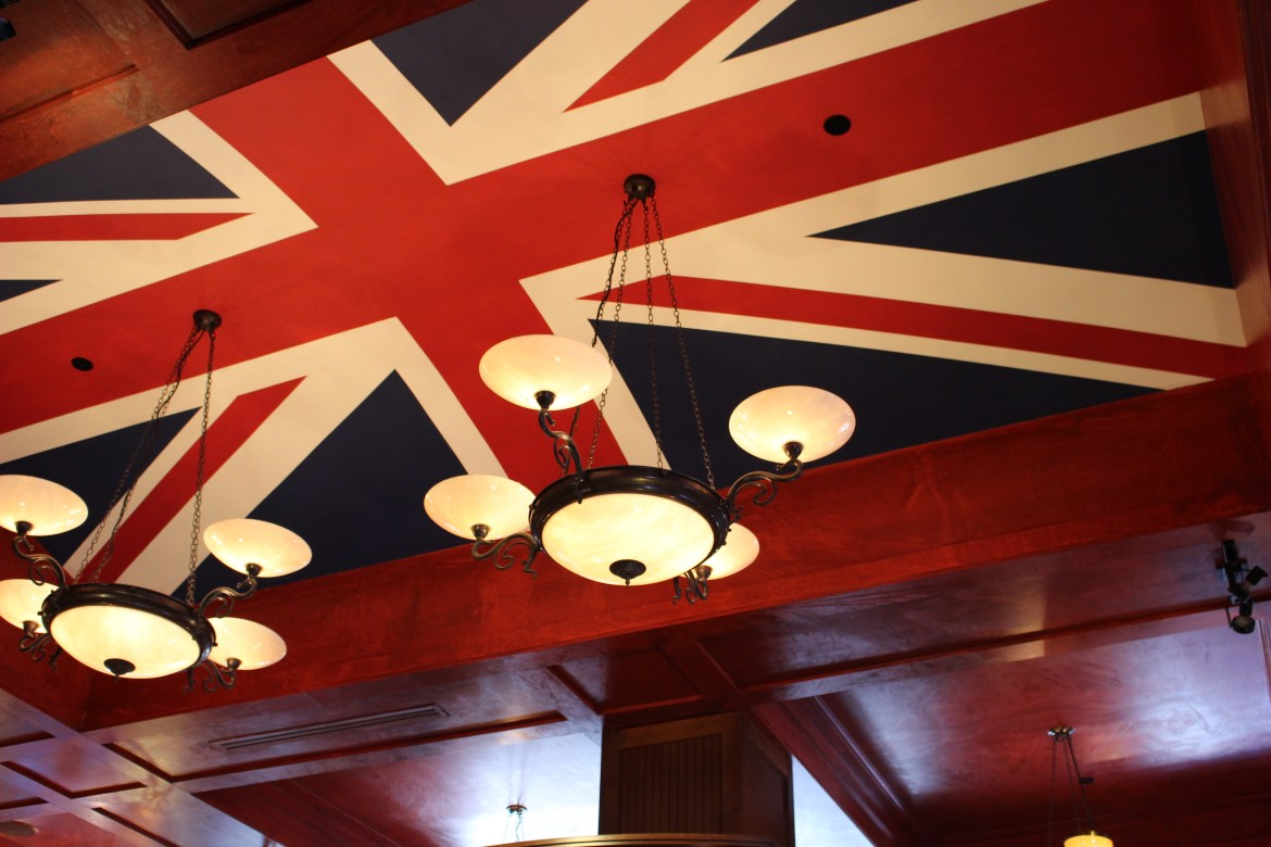 Union Jack painted on the ceiling of The Pub at The Gulch