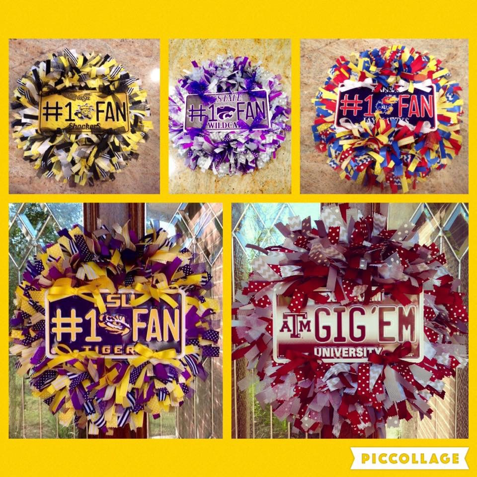 College Spirit Ribbon Wreaths in School Colors
