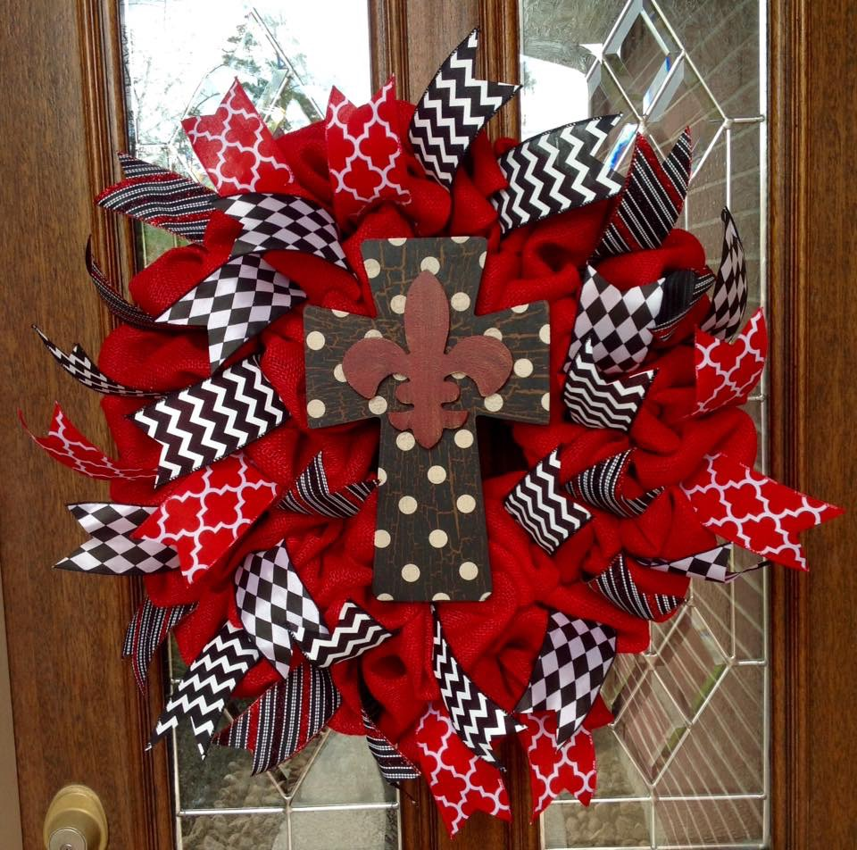 Fleur de Lis Wreath with wooden cross and red & black accent ribbon