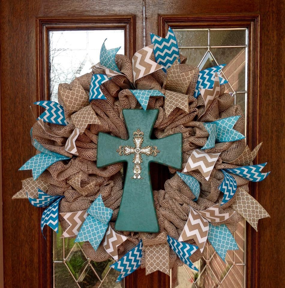 Burlap Wreath with Turquoise Cross Centerpiece from Whimsical Wreaths by Amy