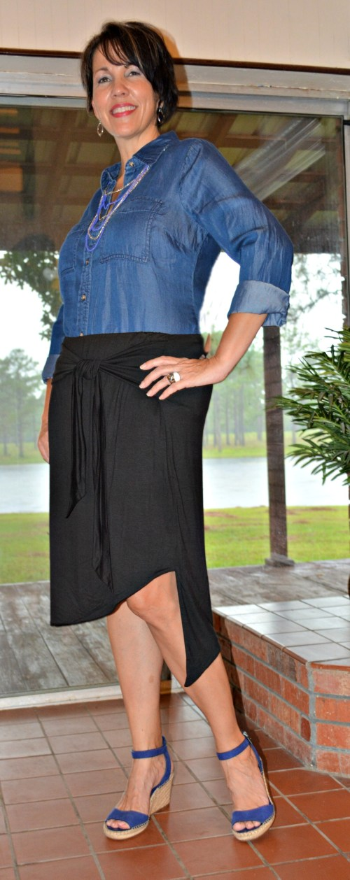 Summer to Fall Transition Wardrobe Piece, the Chambray Shirt, can be dressed up or down.