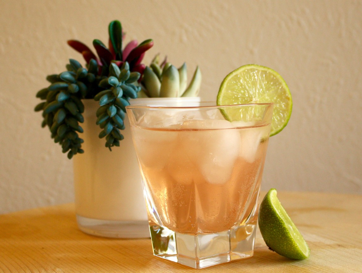 Cranberry Coconut Lime Rickey Mocktail -coconut water, cranberry juice, lime juice & club soda