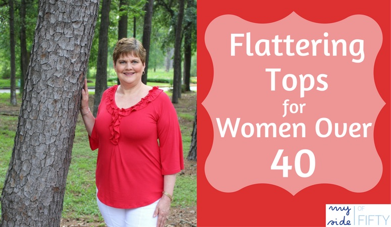 Flattering Tops For Women Over 40 | A Review of the Ruffled Neck With Bell Sleeve Top from Covered Perfectly