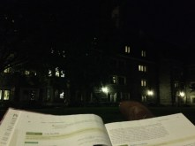 Studying physics under a lamp on the Whitman courtyard