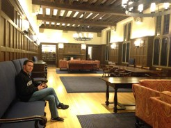 My friend relaxes in the Graduate School lounge