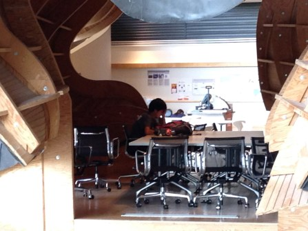 A study area in the big black metal thingy