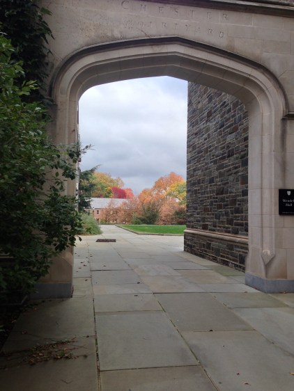 Looking out from an arch of Whitman College