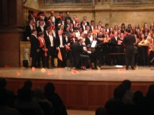 The Princeton Glee Club wears orange during the football songs