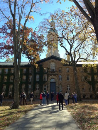 Nassau Hall before flying the W