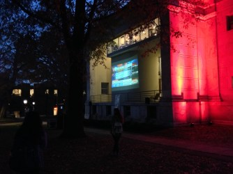 TV outside of Whig Hall