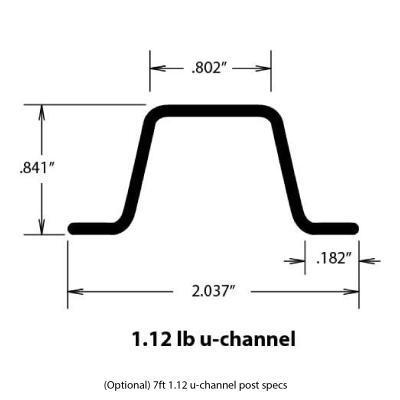 u-channel 1.12lb post 7ft specs