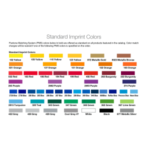 Sharpie Fine Point Permanent Marker Standard Imprint Color Chart