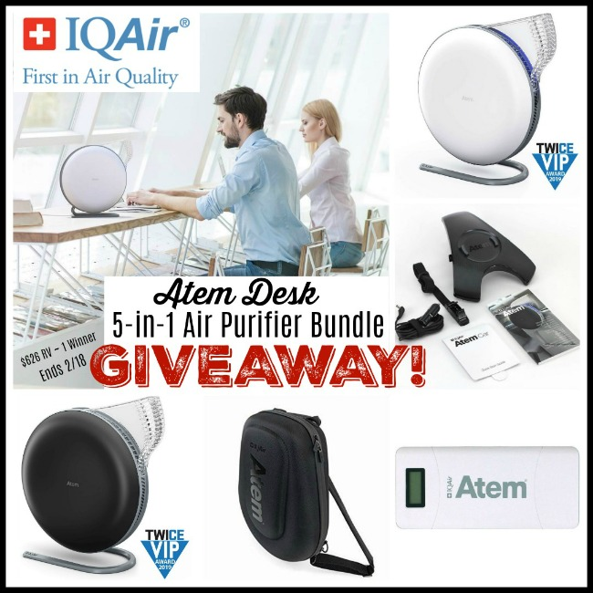 IQAir Atem Desk 5-In-1 Air Purifier Bundle Giveaway ~ Ends 2/18 @SMGurusNetwork @IQAir #MySillyLittleGang