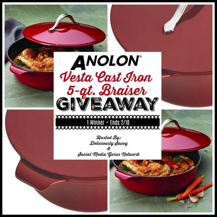 Anolon Vesta Cast Iron 5Qt Braiser Giveaway ~ Ends 2/18 @SMGurusNetwork @Anolon #MySillyLittleGang