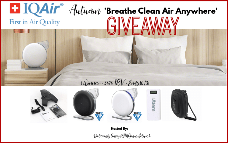 IQAir Autumn 'Breathe Clean Air Anywhere' Giveaway ~ Ends 10/31 @IQAir @DeliciouslySavv #MySillyLittleGang