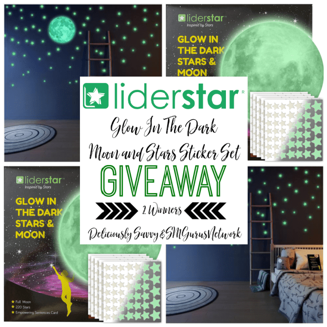 Liderstar Glow In The Dark Moon & Stars Sticker Set Giveaway ~ Ends 12/19 @LIDERSTARSTUDIO @DeliciouslySavv #MySillyLittleGang